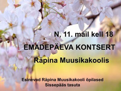 Räpina Muusikakooli emadepäeva kontsert @ Räpina Muusikakool | Räpina | Põlva maakond | Eesti