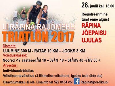 III Raudmehe triatlon @ Puuaiasõja mälestuspark | Räpina | Põlva maakond | Eesti