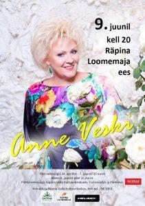 Kontsert: Anne Veski @ Räpina loomemaja ees | Räpina | Põlva maakond | Eesti