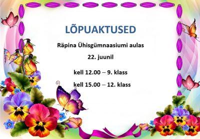 9. klassi lõpuaktus @ Räpina Ühisgümnaasiumi aula | Räpina | Põlva maakond | Eesti
