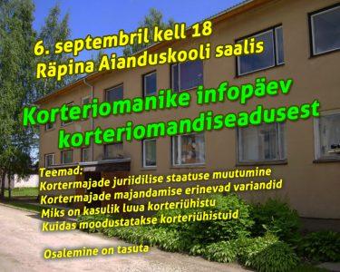 Korteriomanike infopäev korteriomandiseadusest @ Räpina Aianduskooli saalis  | Räpina | Põlva maakond | Eesti