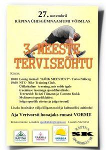 Meeste terviseõhtu @ Räpina Ühisgümnaasiumi võimla | Räpina | Põlva maakond | Eesti
