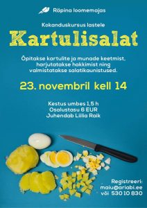 Kokanduskursus lastele: Kartulisalat @ Räpina loomemaja | Räpina | Põlva maakond | Eesti
