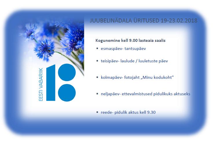 EV 100 juubelinädal @ Räpina Lasteaed Vikerkaar | Räpina | Põlva maakond | Eesti