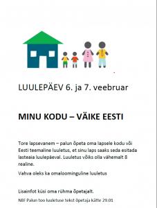 Luulepäev lasteaias @ Räpina Lasteaed Vikerkaar | Räpina | Põlva maakond | Eesti
