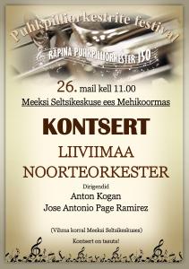 Liivimaa Noorteorkestri kontsert Mehikoormas @ Meeksi seltsikeskuse ees | Mehikoorma | Tartu maakond | Eesti