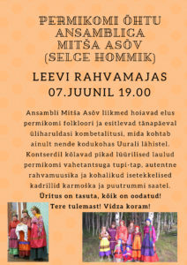 Permikomi õhtu ansambliga Mitša Asõv @ Leevi rahvamaja | Leevi | Põlva maakond | Eesti
