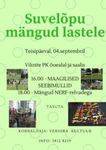 Suvelõpu mängud lastele @ Viluste Põhikooli saal ja õueala | Põlva maakond | Eesti