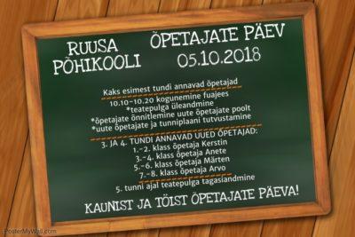 Ruusa Põhikooli õpetajate päev @ Ruusa Põhikool   Ruusa   Põlva maakond   Eesti