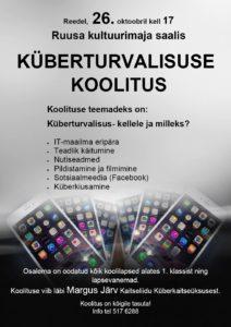 Küberturvalisuse koolitus @ Ruusa kultuurimaja   Ruusa   Põlva maakond   Eesti