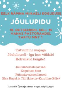 EELK Räpina Miikaeli koguduse jõulupuu @ EELK Räpina Miikaeli koguduse pastoraadihoones | Räpina | Põlva maakond | Eesti