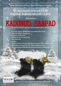 Muusikaline jõuluetendus KADUNUD SAAPAD @ Räpina Aianduskooli saal | Räpina | Põlva maakond | Eesti