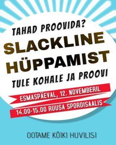 Slackline trikitamise ja hüppamise tutvustav tund @ Ruusa Põhikooli spordisaal | Ruusa | Põlva maakond | Eesti