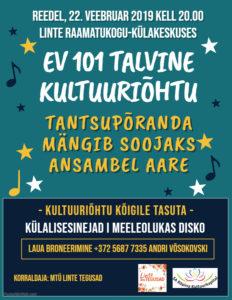 EV 101 talvine kultuuriõhtu @ Linte raamatukogu-külakeskus | Linte | Põlva maakond | Eesti