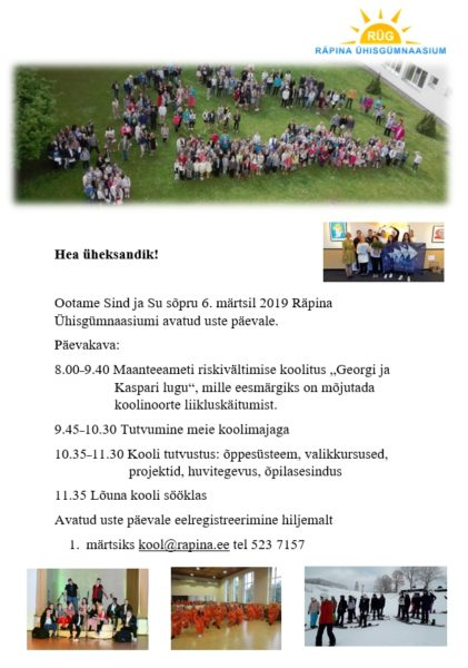 Lahtiste uste päev Räpina Ühisgümnaasiumis @ Räpina Ühisgümnaasium | Räpina | Põlva maakond | Eesti