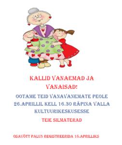 Vanavanemate pidu @ Räpina Aianduskooli saal | Räpina | Põlva maakond | Eesti