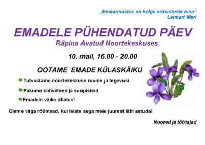 Emadele pühendatud päev @ Räpina Avatud Noortekeskus | Räpina | Põlva maakond | Eesti