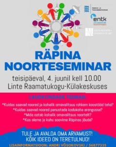 RÄPINA NOORTESEMINAR @ Linte Raamatukogu -Külakeskus | Linte | Põlva maakond | Eesti