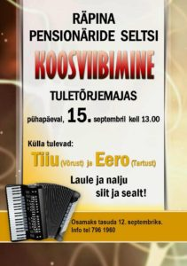 Räpina Pensionäride Seltsi koosviibimine @ Räpina Tuletõrjeühingu majas | Räpina | Põlva maakond | Eesti