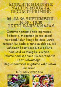 Koduste hoidiste näitus-müük ja degusteerimine @ Levi Rahvamaja | Leevi | Põlva maakond | Eesti