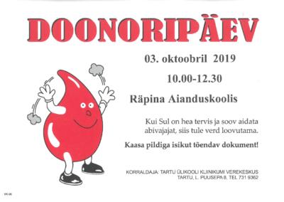 Doonoripäev @ Räpina Aianduskooli saal | Räpina | Põlva maakond | Eesti