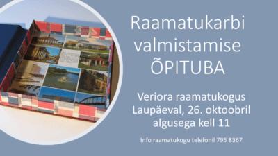 Raamatukarbi valmistamise õpituba @ Veriora raamatukogu | Veriora | Põlva maakond | Eesti