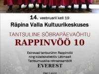 Tantsurühma RAPPINVÖÖ 10. tegevusaasta õhtu koos sõpradega @ Räpina Valla Kultuurikeskus | Räpina | Põlva maakond | Eesti