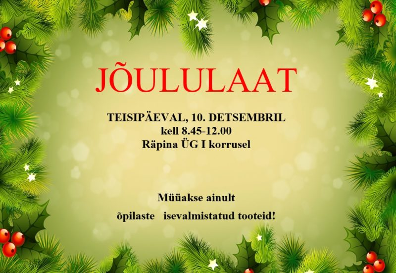 Jõululaat Räpina Ühisgümnaasiumis