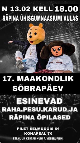 17. maakondlik sõbrapäev @ Räpina Ühisgümnaasiumi aulas | Räpina | Põlva maakond | Eesti