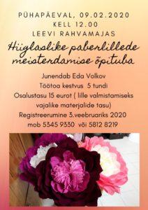 Hiiglaslike paberlillede meisterdamise õpituba @ Leevi Rahvamaja | Leevi | Põlva maakond | Eesti