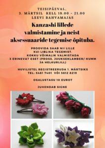 Kanzashi lillede õpituba @ Leevi Rahvamaja | Leevi | Põlva maakond | Eesti