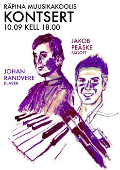 Johan Randvere (klaver) ja Jakob Peäske (fagott) @ Räpina Muusikakool | Räpina | Põlva maakond | Eesti