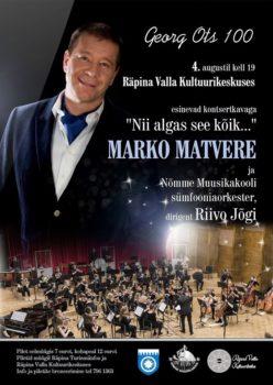 Kontsert Georg Otsa mälestuseks @ Räpina Valla Kultuurikeskus | Räpina | Põlva maakond | Eesti