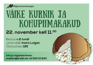 Toidukoolitus Räpina loomemajas (JÄÄB ÄRA) @ Räpina | Põlva maakond | Eesti