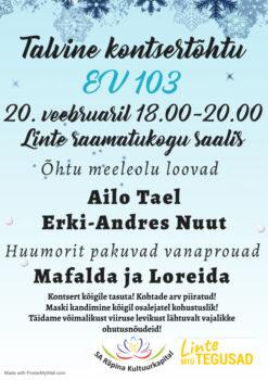 Eesti Vabariigi 103. aastapäevale pühendatud talvine kontsertõhtu @ Linte raamatukogu saalis | Linte | Põlva maakond | Eesti