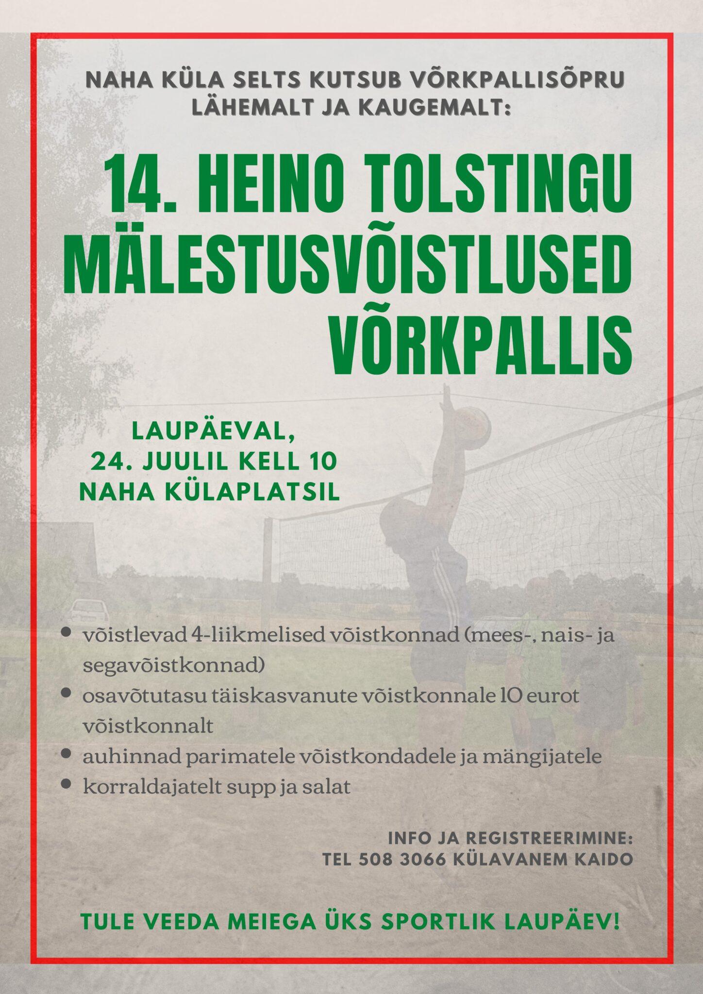 Heino Tolstingu mälestusvõistlus võrkpallis @ Naha külaplatsil | Naha | Põlva maakond | Eesti