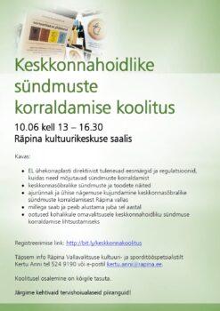 Keskkonnahoidlike sündmuste korraldamise koolitus @ Räpina kultuurikeskuse saal | Räpina | Põlva maakond | Eesti
